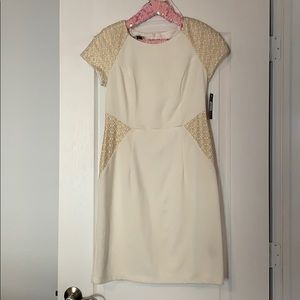 Cream and gold fitted dress